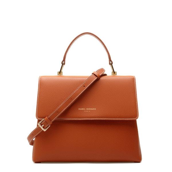 Isabel Bernard Femme Forte Gisel cognac læder håndtaske lavet af kalveskind