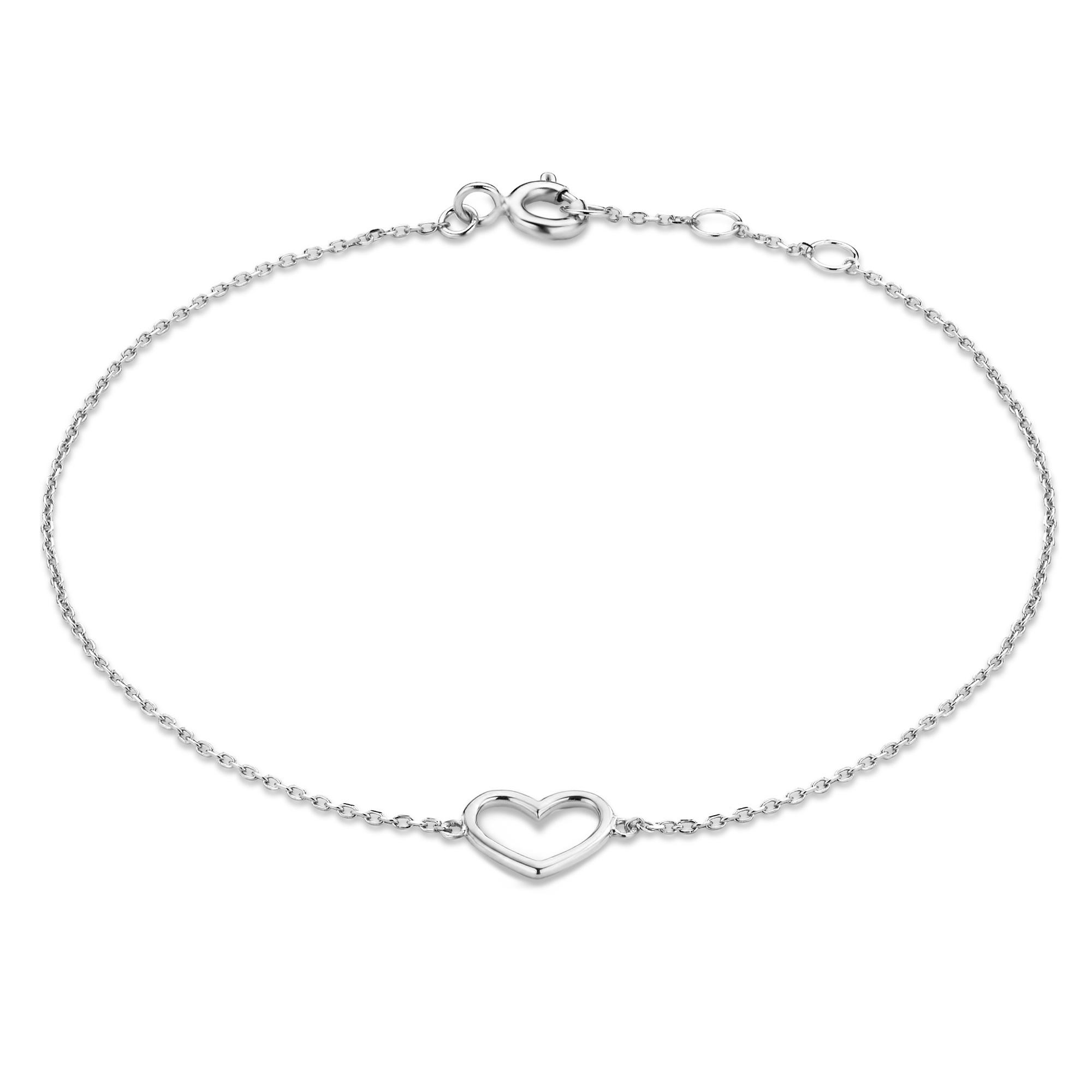 Isabel Bernard Saint Germain Alix 14 karaat witgouden armband met hartje