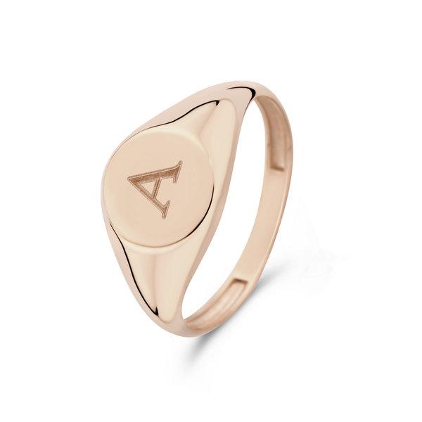 Isabel Bernard La Concorde Lauren anello con sigillo iniziale in oro rosa 14 carati