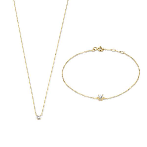Isabel Bernard Cadeau d'Isabel 14 karaat gouden collier en armband giftset