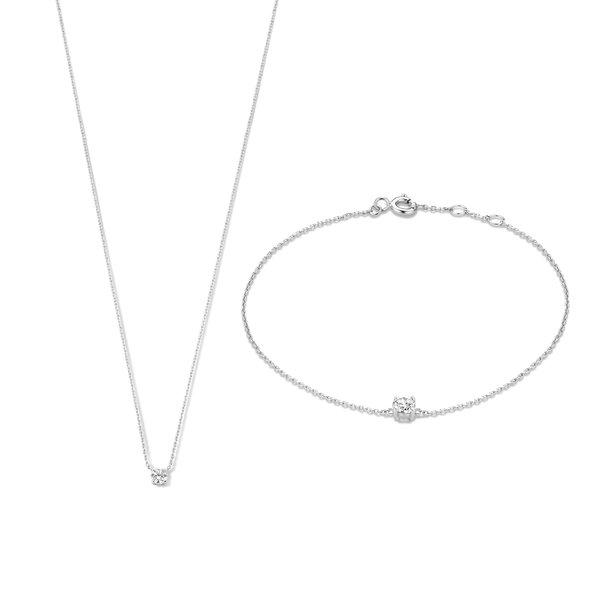 Isabel Bernard Cadeau d'Isabel 14 karaat witgouden collier en armband giftset