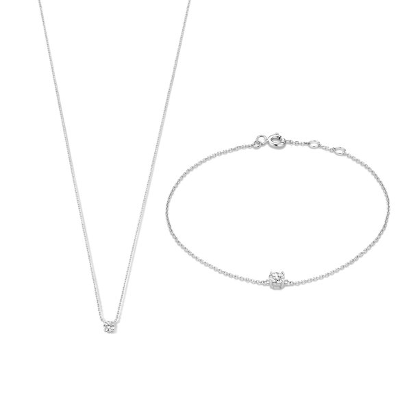 Isabel Bernard Cadeau d'Isabel set regalo con collana e bracciale in oro bianco 14 carati