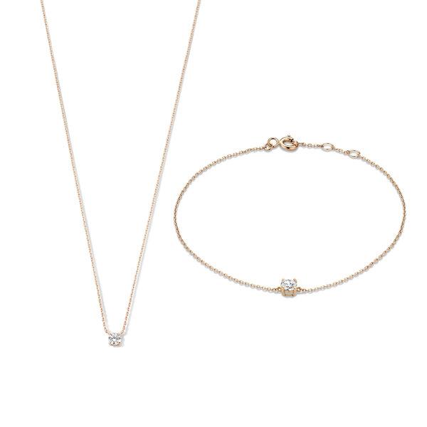 Isabel Bernard Cadeau d'Isabel 14 karaat rosé gouden collier en armband giftset
