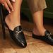 Isabel Bernard Vendôme Fleur black calfskin leather slipper loafers
