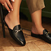 Isabel Bernard Vendôme Fleur schwarze Pantolette Loafer aus Kalbsleder
