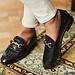 Isabel Bernard Vendôme Fleur croco black calfskin leather loafers
