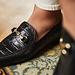 Isabel Bernard Vendôme Fleur kroko schwarze Loafer aus Kalbsleder
