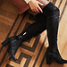 Isabel Bernard Vendôme Fem zwarte suède stretch heels