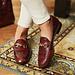 Isabel Bernard Vendôme Fleur croco brune kalveskind loafers