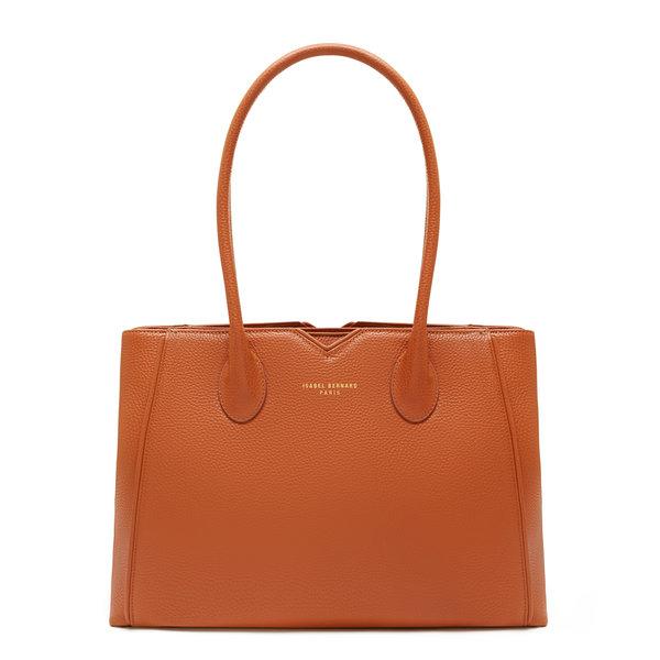 Isabel Bernard Honoré Cloe cognac calfskin leather handbag