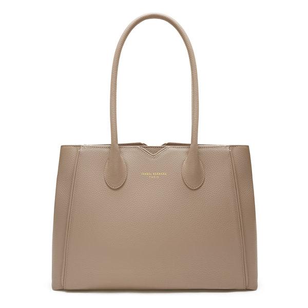 Isabel Bernard Honoré Cloe taupe calfskin leather handbag