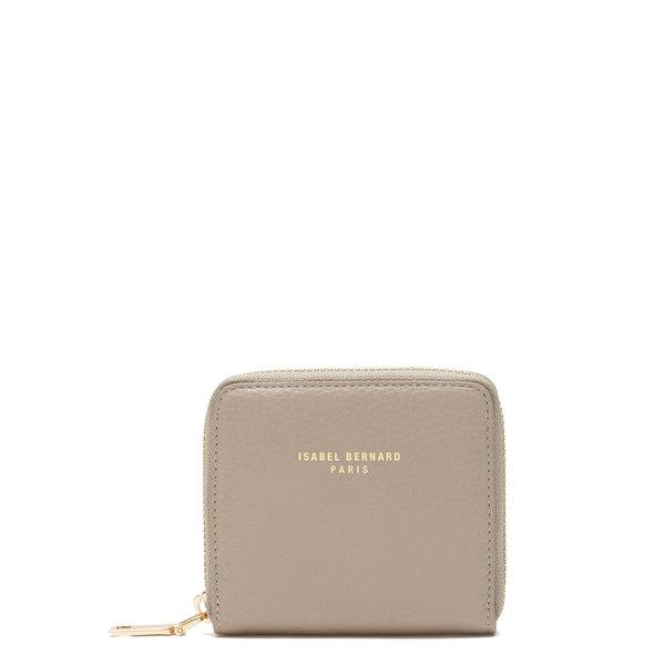 Isabel Bernard Honoré Jules taupe läder plånbok med dragkedja av kalvskinn
