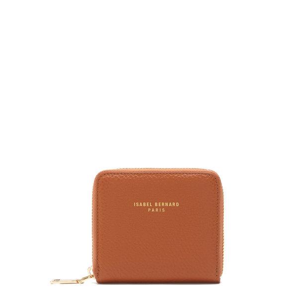 Isabel Bernard Honoré Jules cognac läder plånbok med dragkedja av kalvskinn