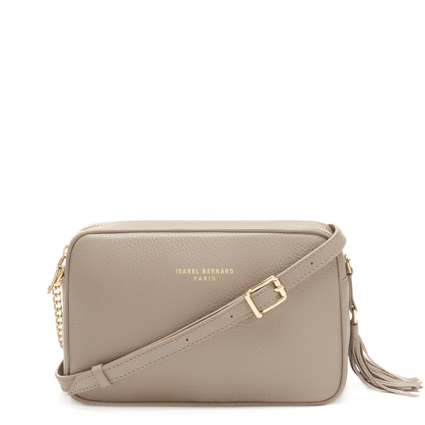 Isabel Bernard Honoré Lucie taupe calfskin leather crossbody bag