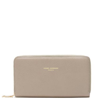 Isabel Bernard Honoré Léa taupe calfskin leather zipper wallet