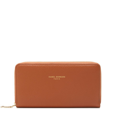 Isabel Bernard Honoré Léa cognac calfskin leather zipper wallet