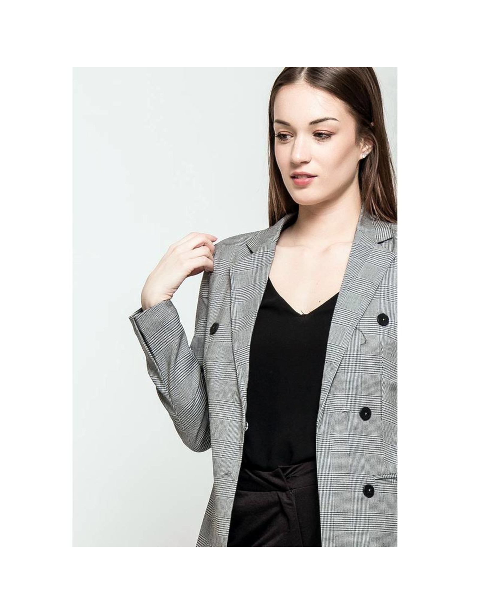 E. Z18 CHECK BLAZER GREY