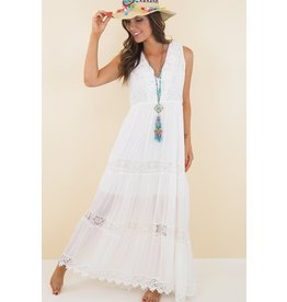 EXES Private E. W18 CAP LACE DRESS WHITE