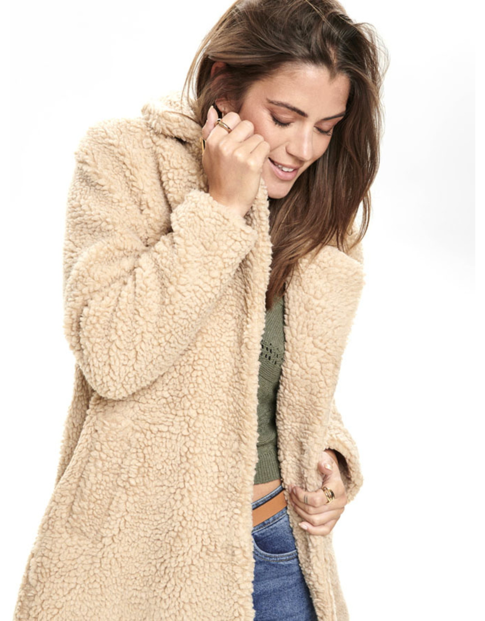 ONLY O. W19 SHERPA COAT SAND
