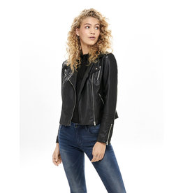 FAUX LEATHER BIKER BLACK