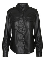GWEN PU SHIRT BLACK
