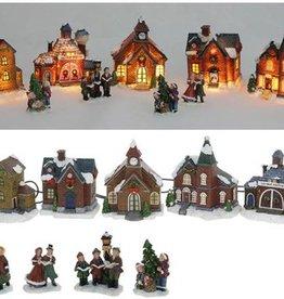 Kerstdorp met verlichting 9 delig
