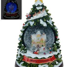 Kerstboom met sneeuw, verlichting en muziek