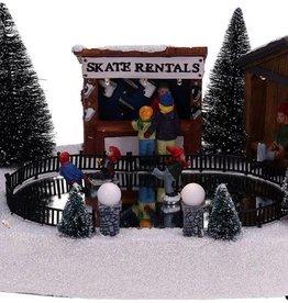 Kersttafereel schaatsbaan met beweging en verlichting