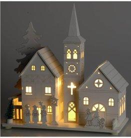 Houten kerkje met 5 LED's