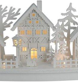 Houten kerstdorp met LED lampjes