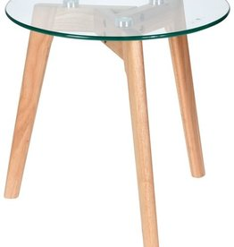 Home & Styling Bijzettafel met glazen plaat - Ø40x40cm