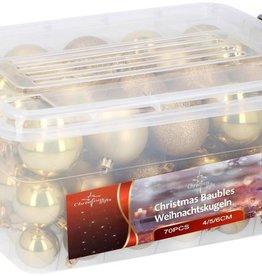Christmas Gifts Kerstballen in box - 70 plastic ballen - goud
