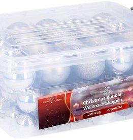 Christmas Gifts Kerstballen in box - 70 plastic ballen - zilver