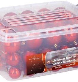 Christmas Gifts Kerstballen in box - 70 plastic ballen - rood