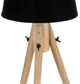Houten lamp met stoffen kap zwart