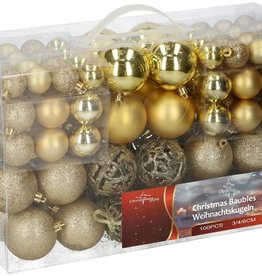 Christmas Gifts Kerstballenset - 100 plastic ballen - goud