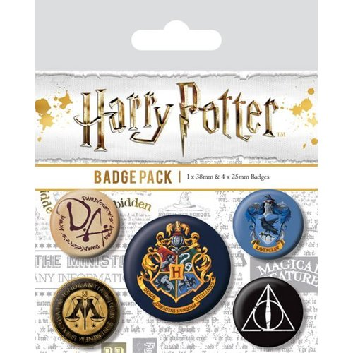 Harry Potter Hogwarts 5 Badge Pack Buttons