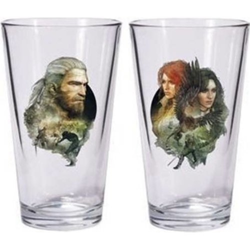 The Witcher 3 Pint Glass Set Geralt and Tris with Yennefer