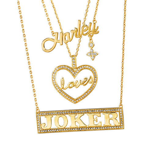 Suicide Squad Harley Loves Joker Necklace Set Noble Collection