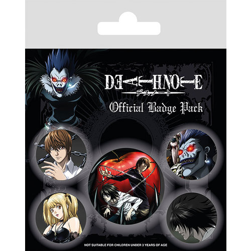 Death Note Characters 5 Badge Pack Buttons