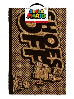 Nintendo Mario Black Shoes Off Doormat 60x40 PVC met Kokosvezels