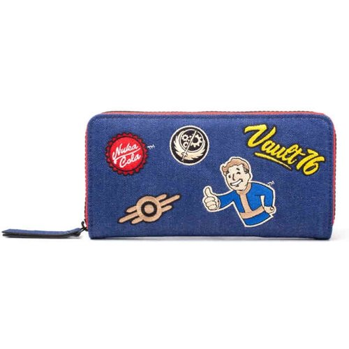 Fallout Vault 76 Denim Zip Around Wallet with Patches