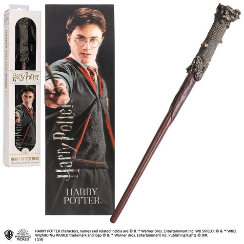 The Noble Collection Harry Potter Harry Potter PVC Wand 30cm + 3D Bookmark Noble Collection