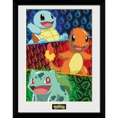 Pokemon Starters Glow Framed Collector Print 30x40