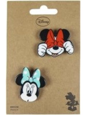Cerda Disney Mickey & Minnie Mouse Faces Brooches (set of 2)