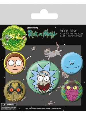 Rick and Morty Heads 5 Badge Pack Buttons