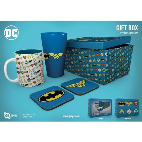 DC Comics Justice League Logos Gift Box Mug / Glass / 2 Coasters
