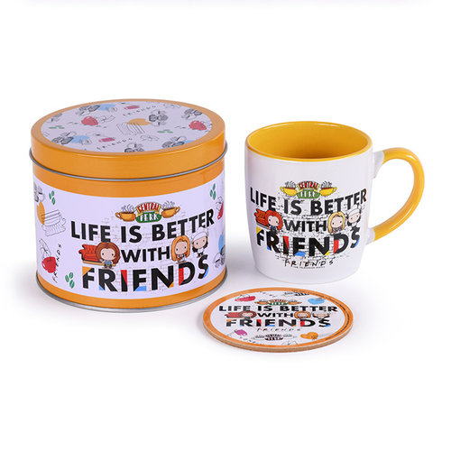 Friends Life Is Better With Friends Metal Tin Gift Set Mug & Coaster