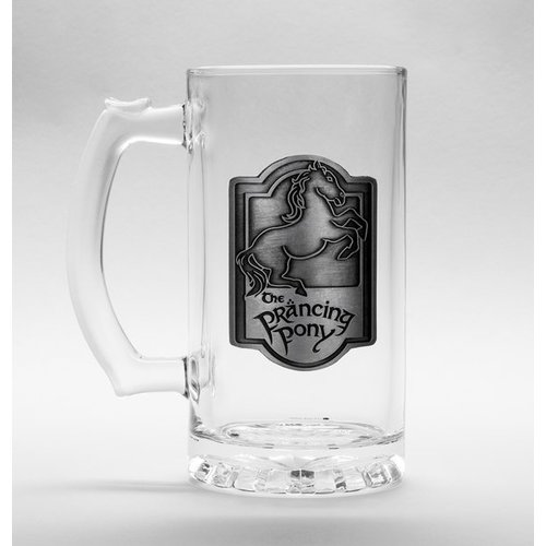 Lord of the Rings Prancing Pony Glass Stein 500ml Metal Badge