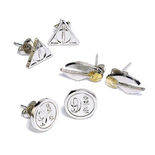 Harry Potter Earring Set Deathly Hallows Golden Snitch Platform 93/4